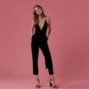 EXPRESS cami strap black velvet crop jumpsuit NWT